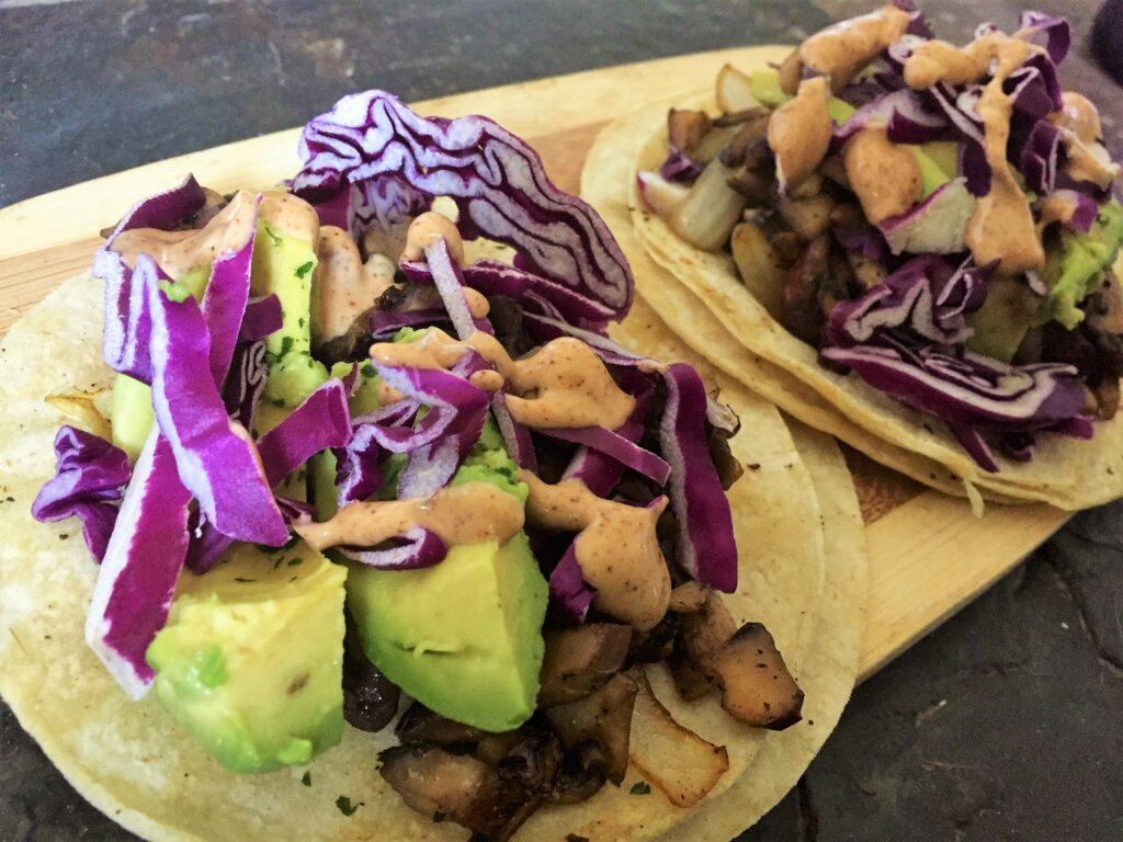 mushroom tacos with chipotle sour cream recipe courtesy of
